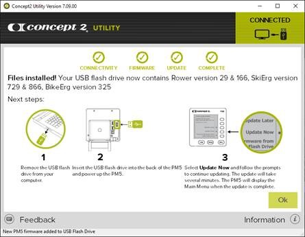 Screenshot of C2 Utility showing installation instructions. 1 - remove USB drive from computer, 2 - insert USB drive into the USB slot on the back of your PM5. 3 - press the 4th button down on your PM5 to Update Now.